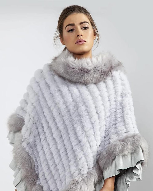 Light Grey Faux Fur Knitted Faux Suede Poncho