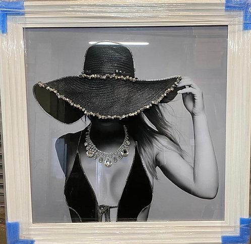 Lady in Floppy Hat on Mirrored Frame