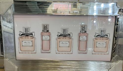 Miss Dior Perfume Bottles on Mirrored Frame 75x55cm