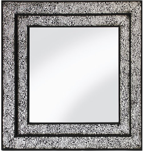 Black Double Framed Mosaic Mirror 68x68cm