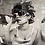 Thumbnail: B&W Girl on Loo on Mirrored Frame 55x55cm