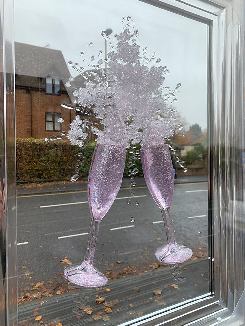 3D Pink Champagne Mirror on Chrome Stepped Frame 55x75cm