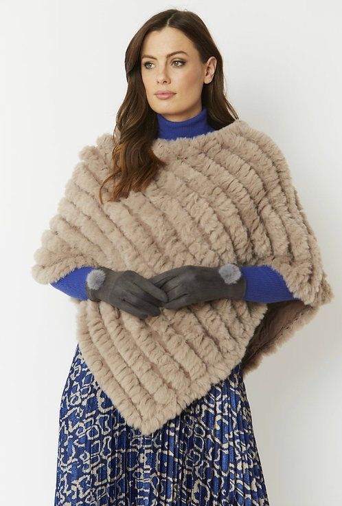 Grey Faux Suede Gloves With Faux Fur Pom