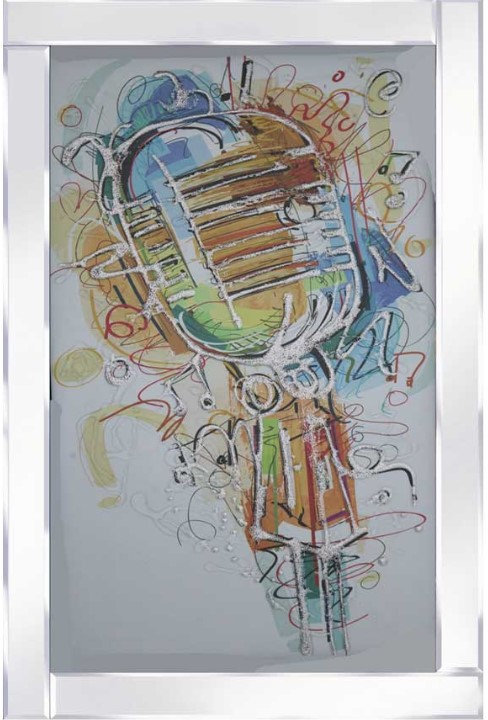 Coloured Microphone on Mirrored Frame