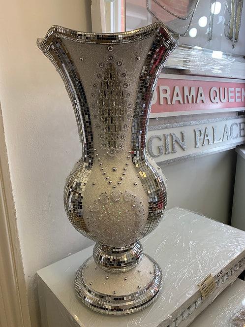 Large White & Mirrored Vase 55x27cm