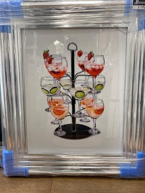 Gin Tree on Chrome Step Frame 65x55cm