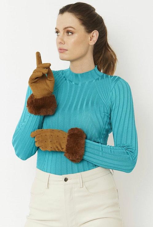 Mocha Faux Suede Gloves with Faux Fur Trim