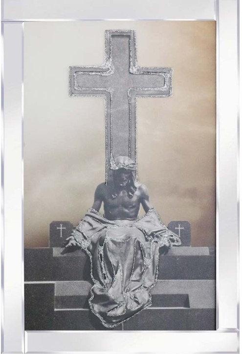 Jesus Sitting Cross on Mirrored Frame