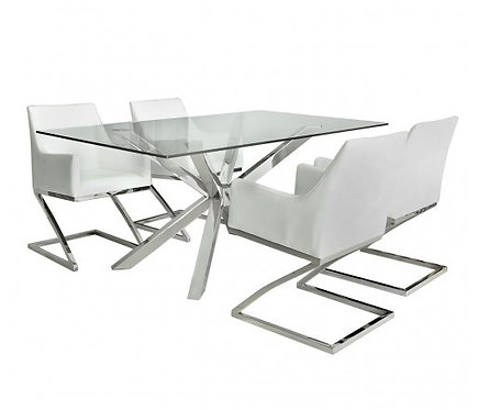 Chrome And Glass Dining Set With 4 White Chairs