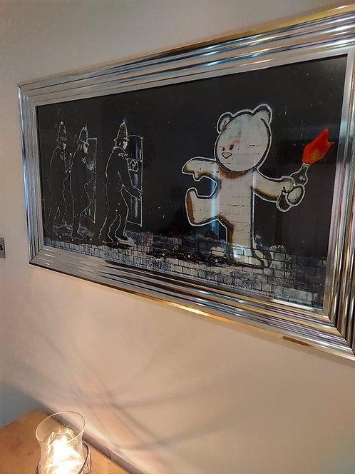 Mild Mild West Banksy on Chrome Step Frame 110x60cm