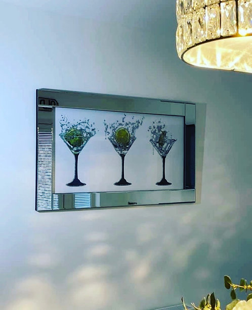 3 Cocktails on Mirrored Frame 100x60cm