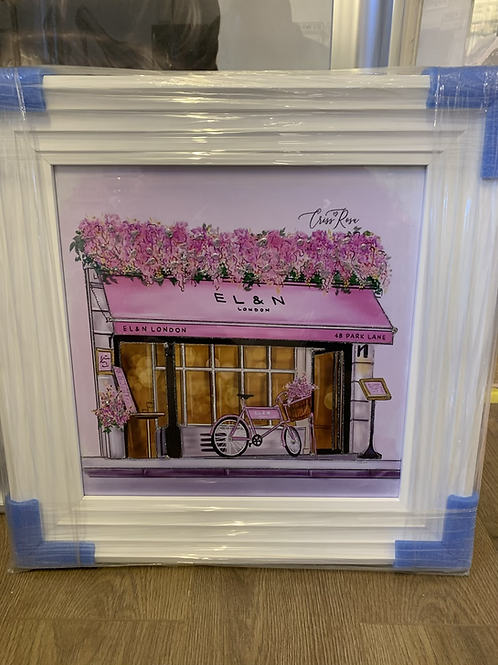 EL&N Shop Front on White Step Frame 55x55cm