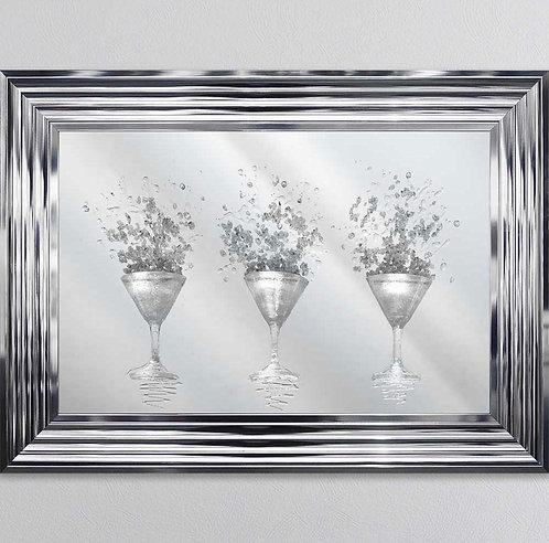 3D Martini Mirror on Chrome Stepped Frame 75x55cm