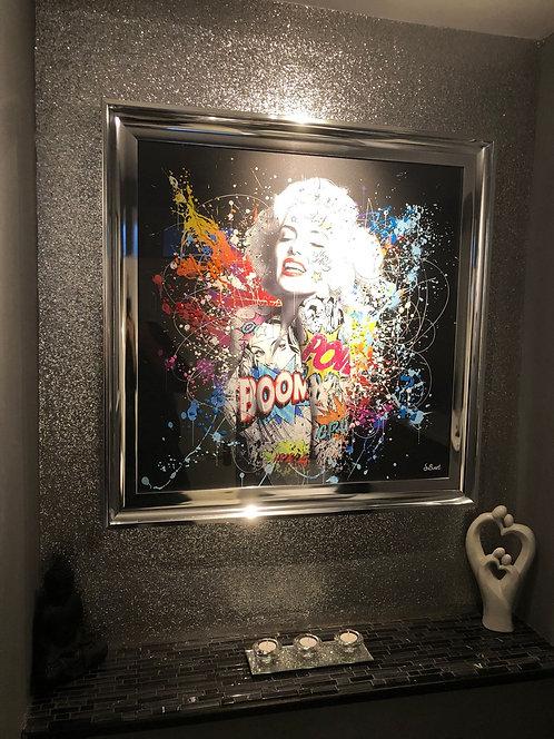 Colour Marilyn on Chrome Scoop Frame 90x90cm