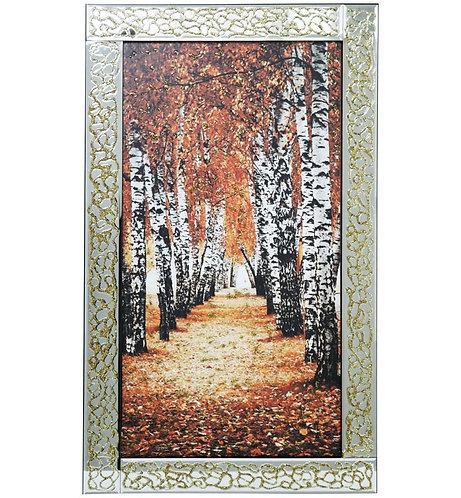 Golden Tree Woods on Mirrored Frame