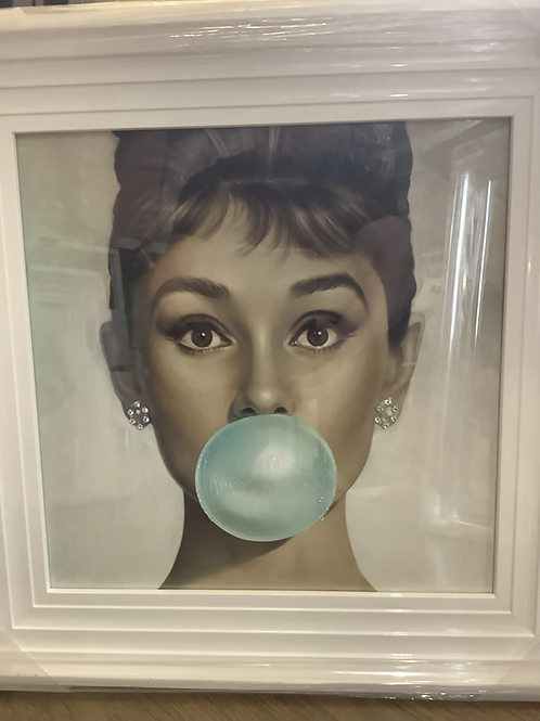Audrey Bubblegum on White Step Frame 55x55cm