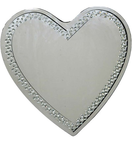 Floating Crystal Heart Mirror 70x70cm