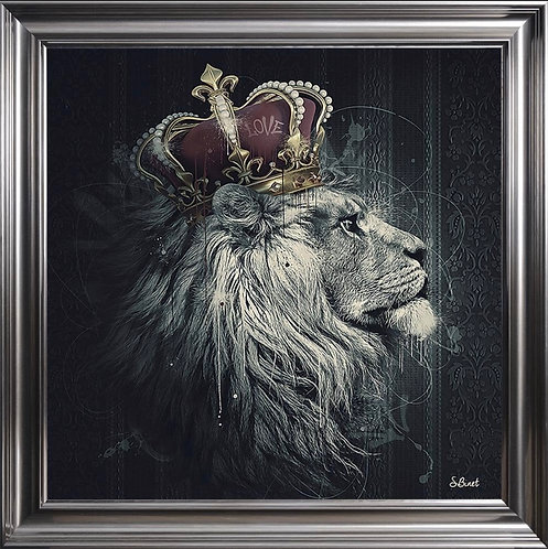 Lion Mafia King on Metallic Scoop Frame 90x90cm