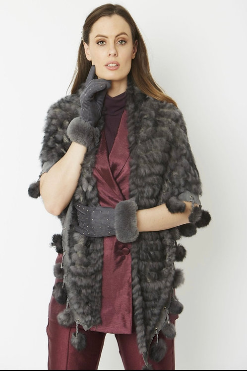 Grey Faux Suede Gloves with Faux Fur Trim