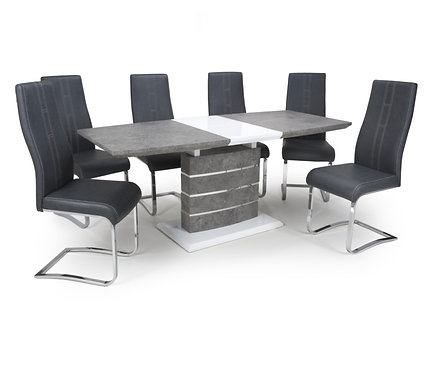 Large Extendable Dining Set with 6 Chairs