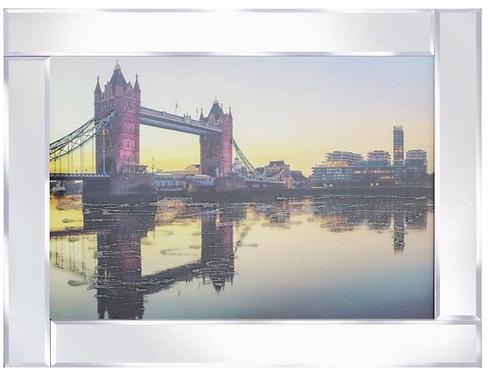London Bridge Sunset on Mirrored Frame  95x75cm