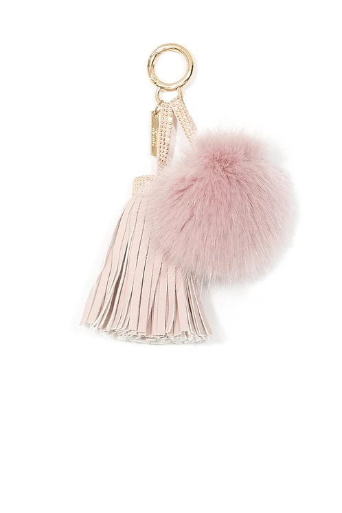 Baby Pink Faux Suede & Fur PomPom Charm