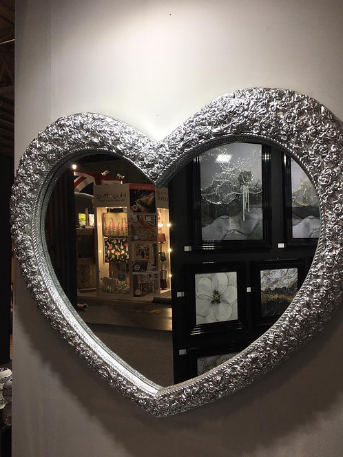 Large Silver Heart Rose Mirror 110x95cm