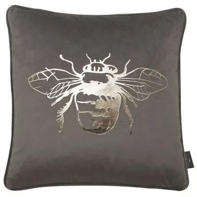 Grey Bumble Bee Cushion 45x45cm