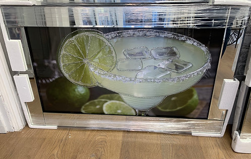 Classic Lime Margarita Cocktail on Mirrored Frame