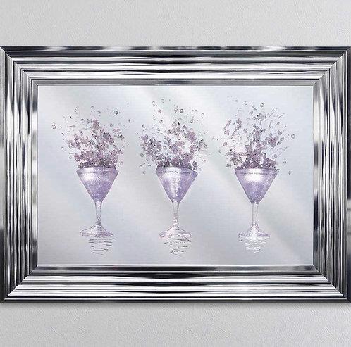 3D Pink Martini Mirror on Chrome Stepped Frame 75x55cm