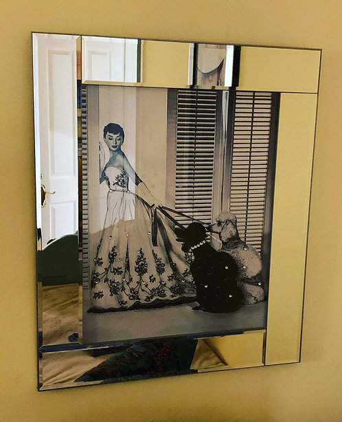 Audrey & Poodles on Mirrored Frame 75x55cm