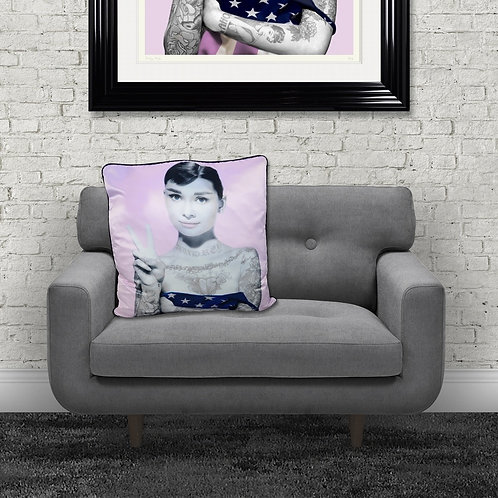 Audrey Tattoos Pink Feather Filled Cushion 55x55cm