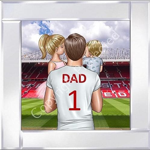 No1 Dad on Mirrored Frame 55x55cm - Man Utd