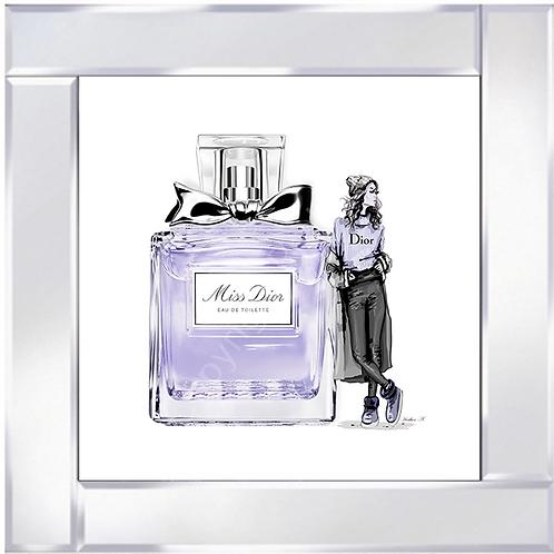 Miss Dior on Mirrored Frame 55x55cm