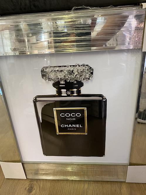 Black Coco Perfume Bottle on Mirrored Frame 55x55cm