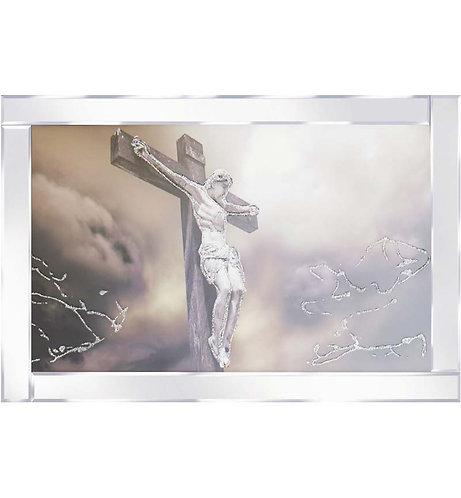 Jesus on Cross on Mirrored Frame