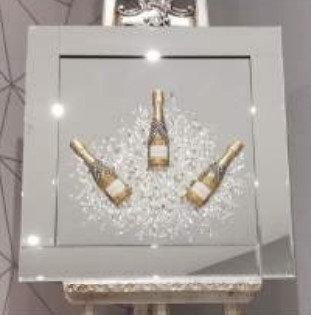 3D Gold Champagne Celebration on Mirrored Frame 55x55cm