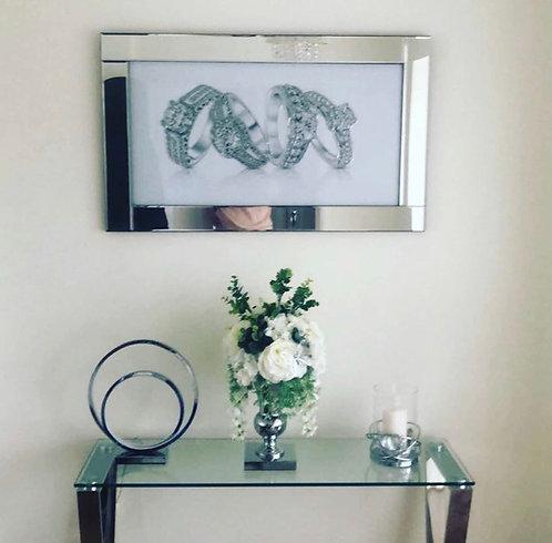 Diamond Rings on Mirrored Frame 100x60cm