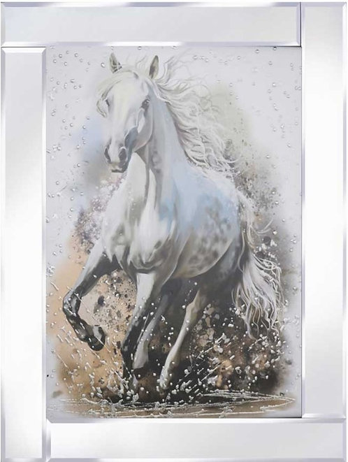 Horse Through Water on Mirrored Frame