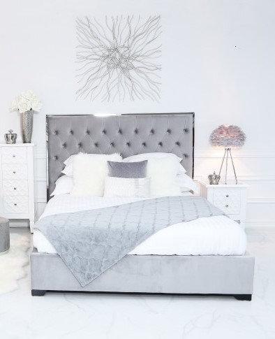 Grey Velvet Double Size Bed Frame