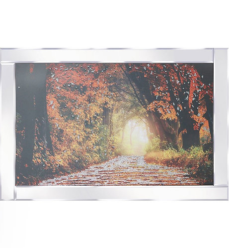 Autumn Woods on Mirrored Frame