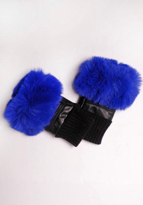 Blue Faux Fur Fingerless Gloves