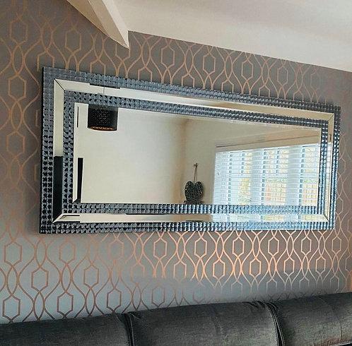 Large Blue & Silver Tile Mirror 200x90cm