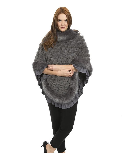 Grey Faux Fur Knitted Faux Suede Poncho