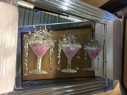 3 Pink Martinis on Mirrored Frame 120x60cm