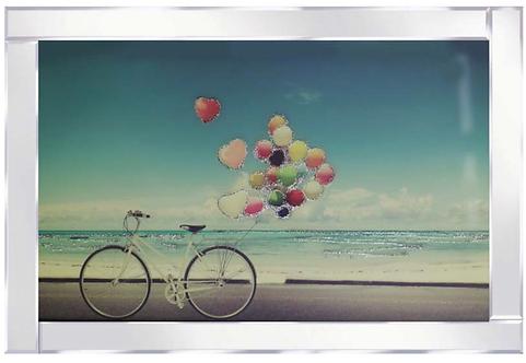 Bike & Balloons in Mirrored Frame