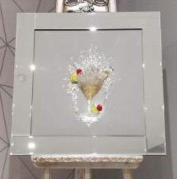 3D Cherry Cocktail on Mirrored Frame 55x55cm