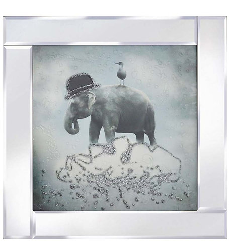 Elephant & Gull on Mirrored Frame