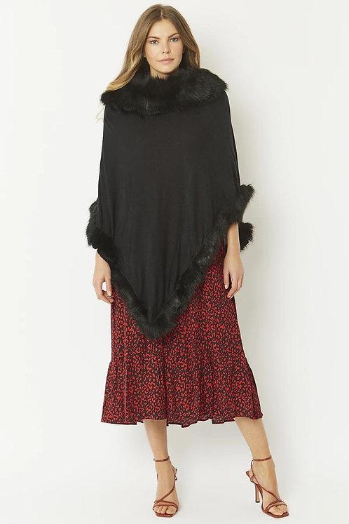 Black Luxury Faux Fur Trim Knitted Poncho