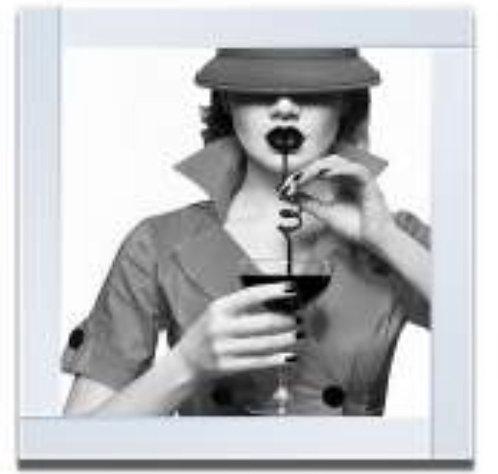Lady on Mirrored Frame 55x55cm